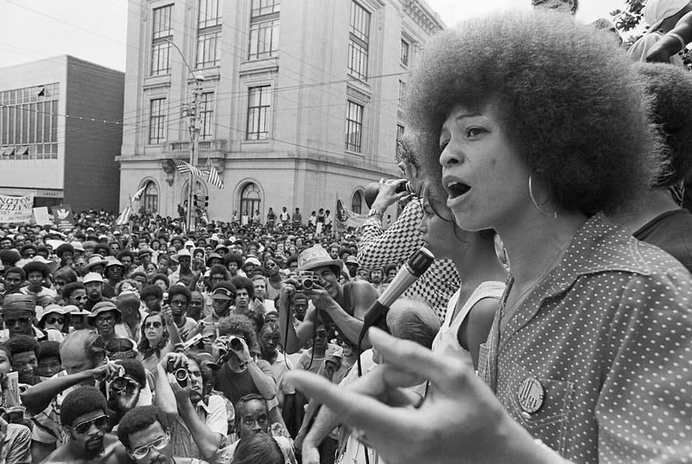 Angela Davis speaks to a rally