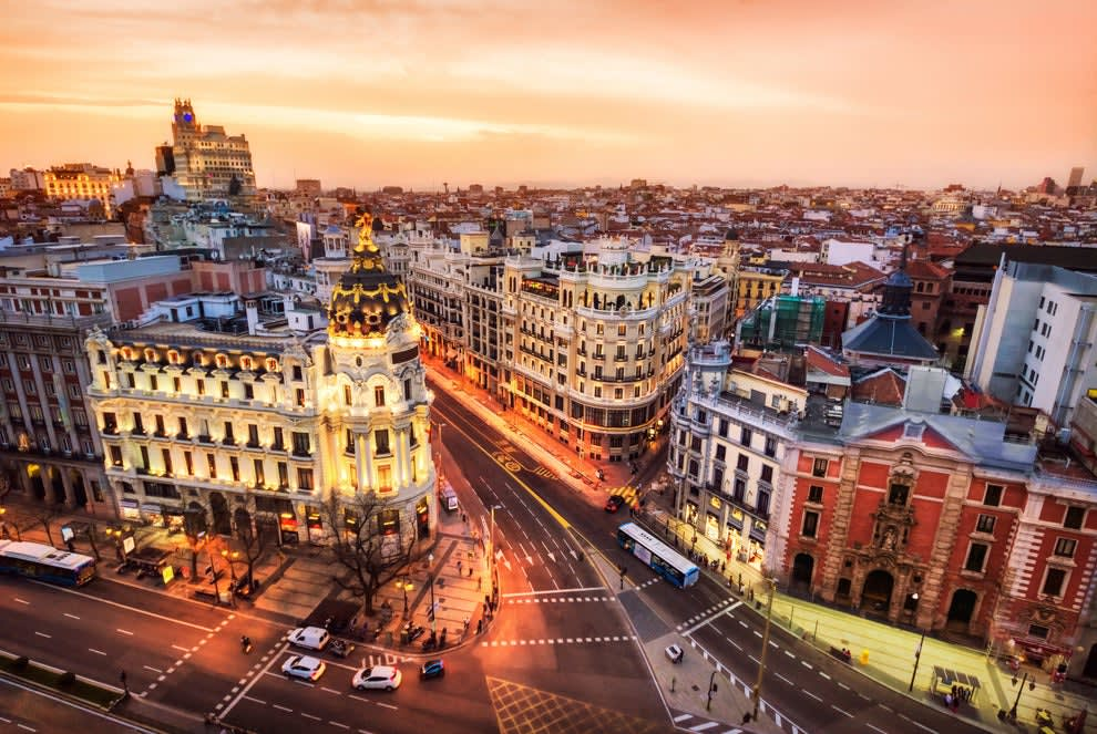 The Gran Via in Madrid, Spain, shot from above at dusk