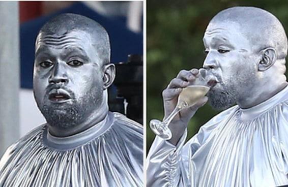 Não viu as fotos de Kanye West completamente coberto de tinta prateada? Bem, aqui estão elas