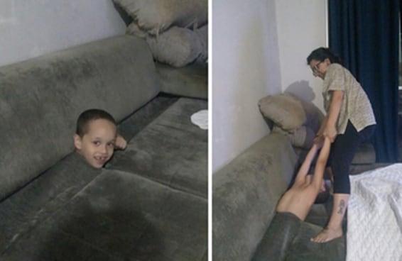 O Davi ficou preso dentro do sofá e seu resgate tem feito muita gente chorar de rir