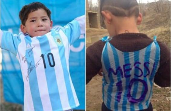 O menino que fez uma camisa do Messi de sacola plástica ganhou uma camisa de verdade