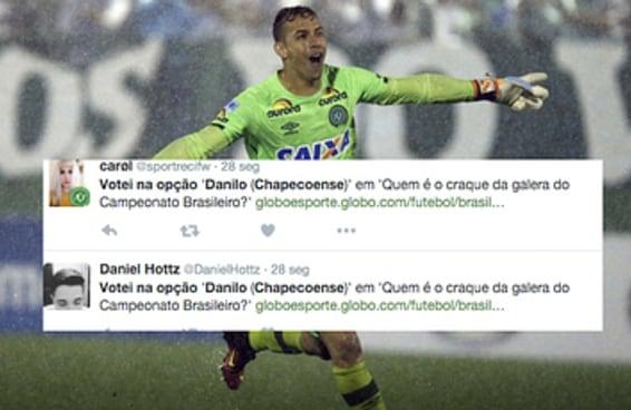 O goleiro Danilo da Chape tem recebido votos para prêmio de craque do Brasileirão