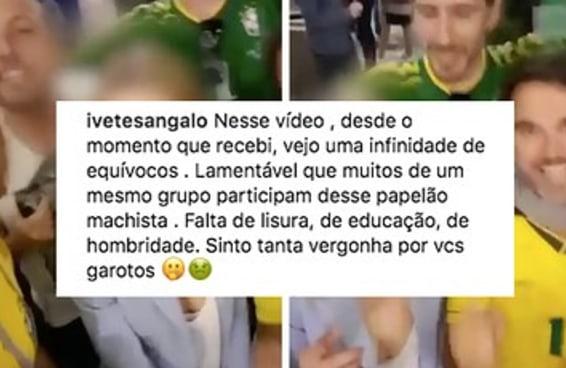 O vídeo do assédio de torcedores brasileiros deixou até a Ivete muito pistola
