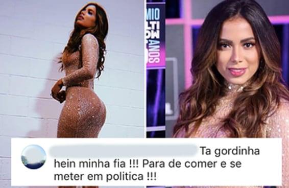 Dias após repudiar Bolsonaro, Anitta recebe enxurrada de machismo no Instagram