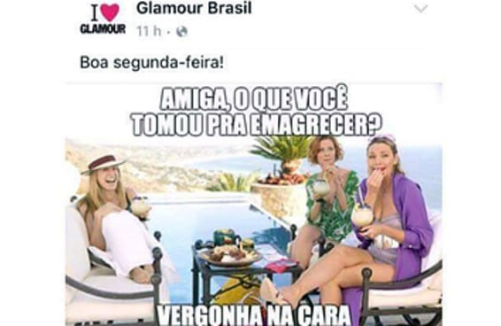 Revista Glamour posta meme considerado gordofóbico e recebe críticas nas redes sociais