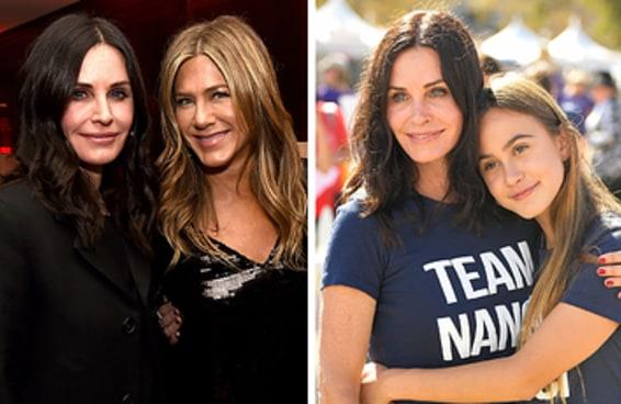 """Courteney Cox mandou um """"eu te amo"""" para a filha durante o incidente com o jatinho da Jennifer Aniston"""