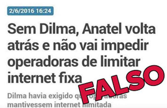 Notícia de que Anatel vai limitar internet é falsa