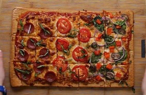 Pizza de forma com massa de quinoa