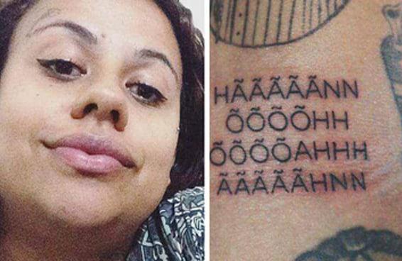Acredite: esta moça tatuou o gemidão do zap