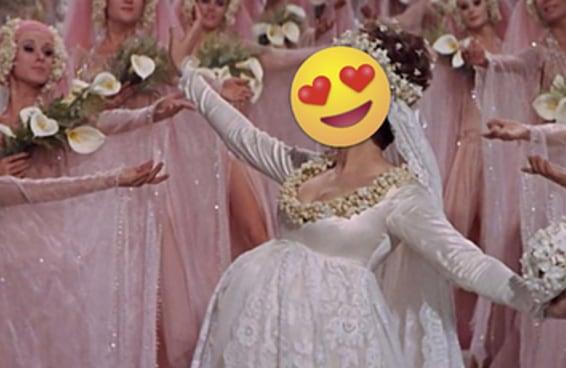 Identifique o filme de comédia romântica com base nos vestidos de casamento que aparecem neles