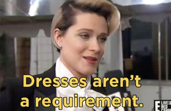 Evan Rachel Wood foi de terno ao Globo de Ouro e lembrou que usar vestido não é obrigação de ninguém