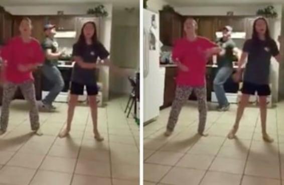 Um pai apareceu de surpresa no vídeo de suas filhas dançando e roubou a cena de forma espetacular
