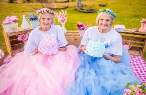 Estas gêmeas brasileiras comemoraram seu aniversário de 100 anos com um ensaio fotográfico fofíssimo