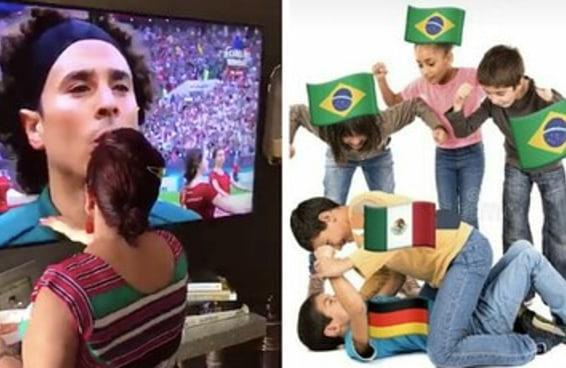 Esta vó mexicana abençoando a TV mostra que na Copa todo latino torce parecido