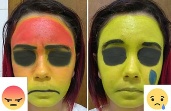 Estas maquiagens de reações do Facebook vão te fazer rir e chorar ao mesmo tempo