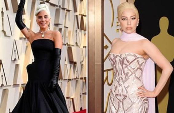 Aqui estão fotos dos looks da Lady Gaga no Oscar desde 2014