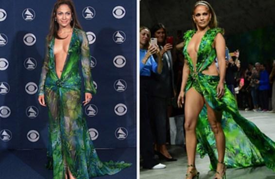 J. Lo usou novamente seu icônico vestido verde da Versace na Semana da Moda de Milão