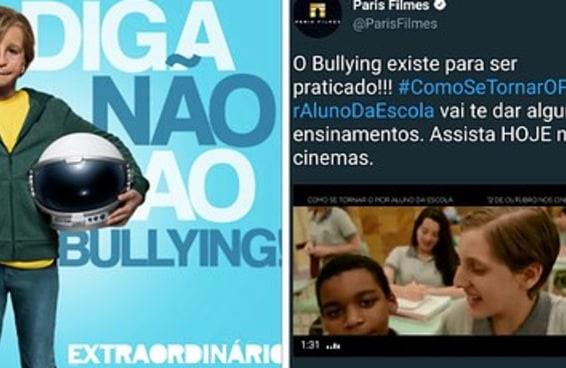 A Paris Filmes está fazendo duas campanhas opostas sobre bullying e as pessoas ficaram confusas