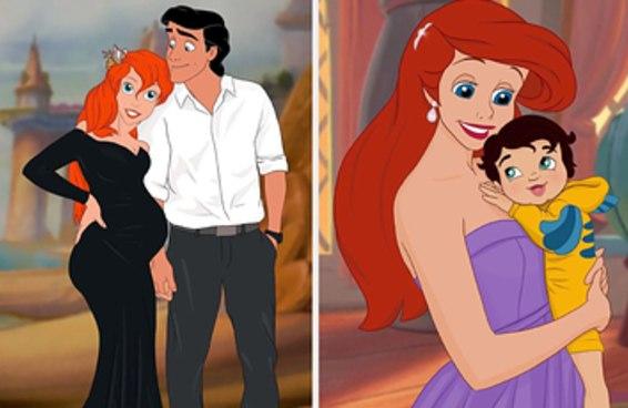 Esta artista desenha princesas da Disney como mães, e os bebês ficaram muito fofos