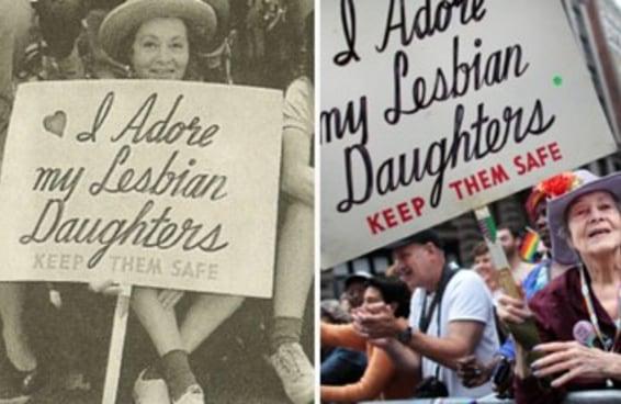 Esta senhora de 92 anos carrega há 30 anos a mesma placa na Parada Gay de Nova York