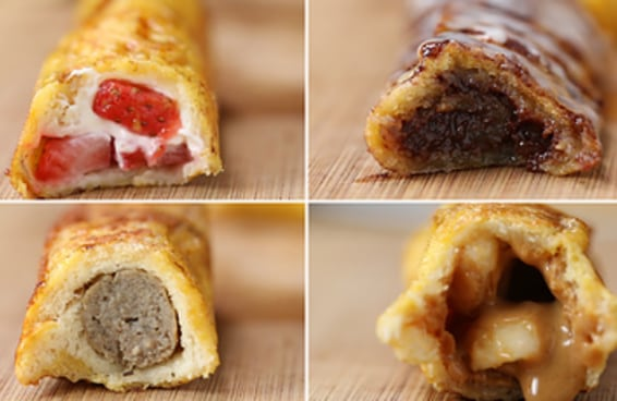 4 Ideias de rolinhos de pão recheados.