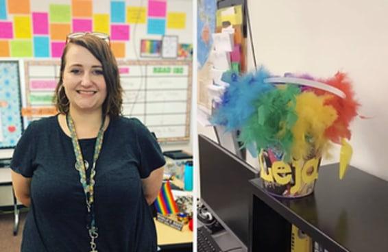 Esta professora está reagindo depois que o conselho de sua escola proibiu as bandeiras de orgulho na sala de aula