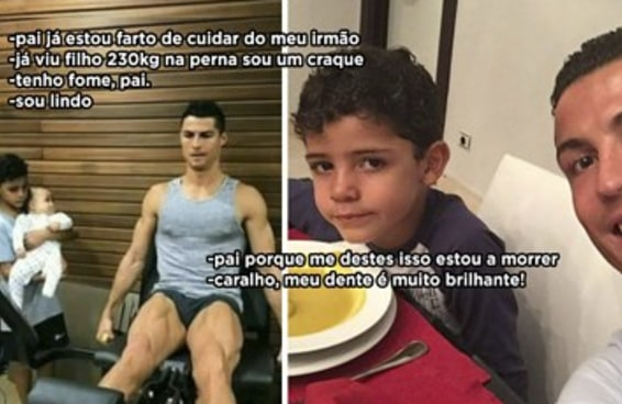 Não dá mais para ver foto do Cristiano Ronaldo sem achar que o filho dele tá com fome