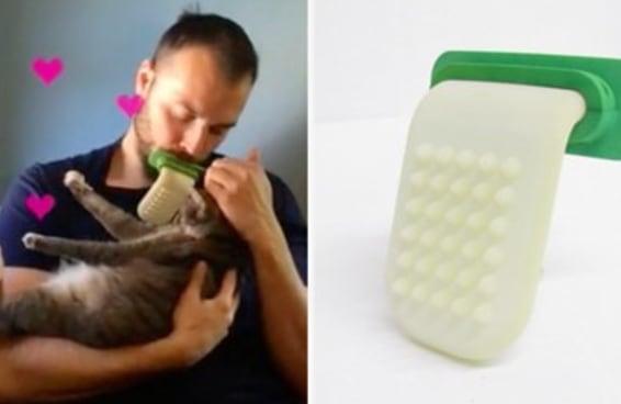 Alguém inventou uma língua gigante de silicone para você poder lamber o seu gato