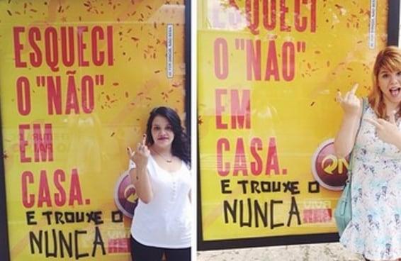 """Mulheres protestam contra campanha da Skol que diz """"Esqueci o 'não' em casa"""""""