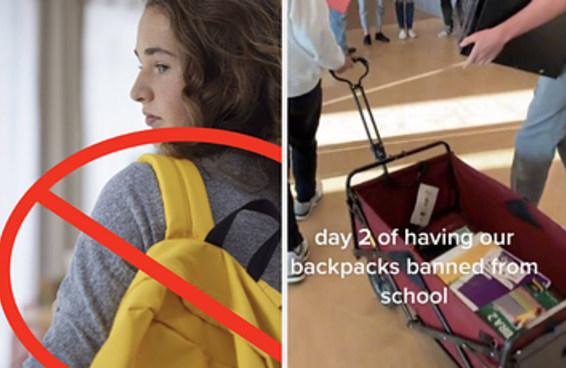 Uma escola proibiu mochilas depois de encontrar uma aluna com uma arma, e os estudantes decidiram levar seus materiais de maneiras bem inusitadas