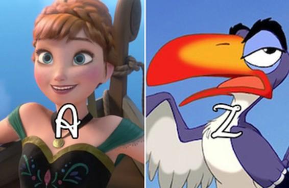 Existe um personagem da Disney para cada letra do alfabeto - será que você vai escolher os mesmos que as outras pessoas?