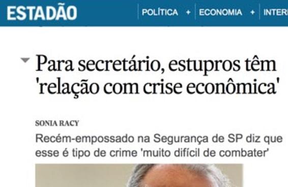 Secretário de Alckmin não tem base científica para ligar estupro à crise