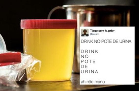 O drink servido em pote de exame de urina deixou as pessoas inconformadas