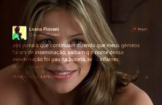 Tuítes de Luana Piovani que apareceram na sua timeline são falsos