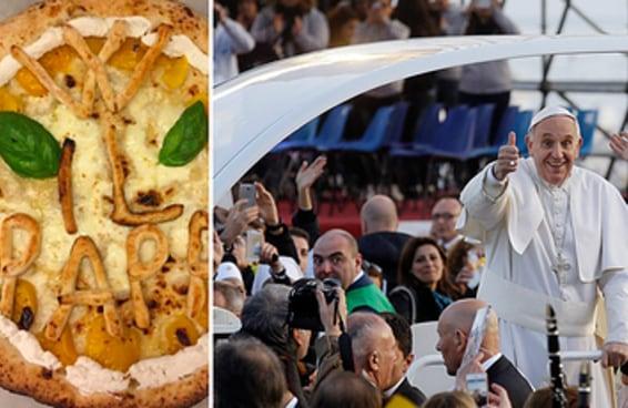Papa recebe uma pizza em seu papamóvel e isso é a coisa mais italiana que já aconteceu