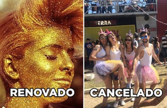 Saiu a lista do que está cancelado ou renovado pro próximo carnaval