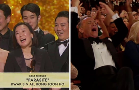 Eu amo a energia da primeira fileira do Oscar, que não deixou que o discurso dos produtores de Parasita fosse cortado