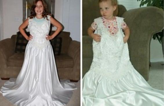 Todo ano esta garota tira uma foto com o vestido de casamento da mãe e isso é tão lindo