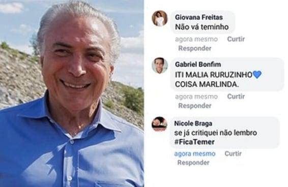 As pessoas estão fazendo juras de amor pro Michel Temer na foto dele