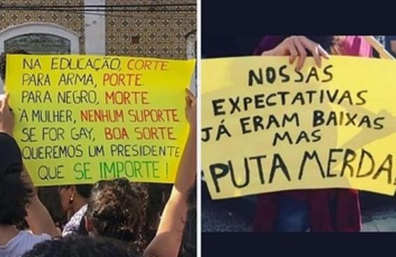 18 cartazes que ilustram as manifestações contra os cortes na educação