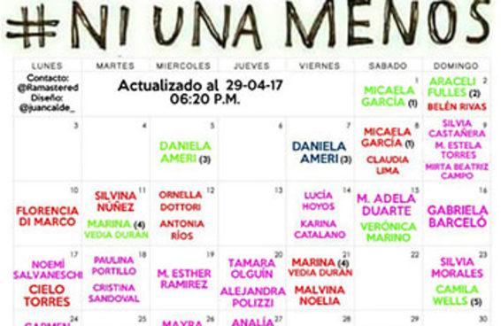 Este calendário chocante mostra todos os casos de feminicídio que aconteceram na Argentina em abril
