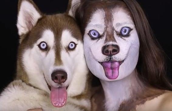 Veja esta mulher se transformando em um husky siberiano usando maquiagem