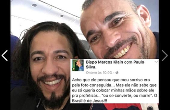 """Bispo posta selfie sorrindo com Jean Wyllys e escreve """"se converte ou morre"""""""