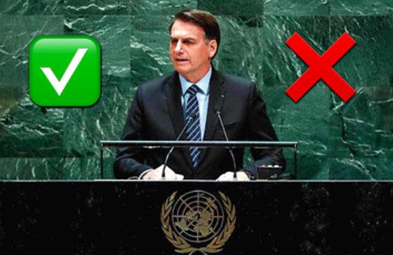 Você sabe dizer o que é verdade e o que é mentira no discurso do Bolsonaro na ONU?