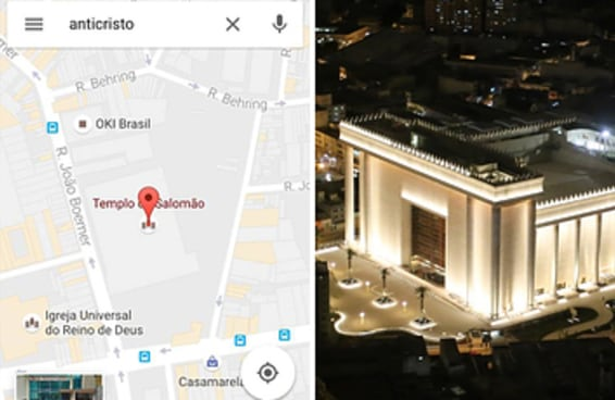 """A busca pela palavra """"anticristo"""" no Google Maps cai no Templo de Salomão"""