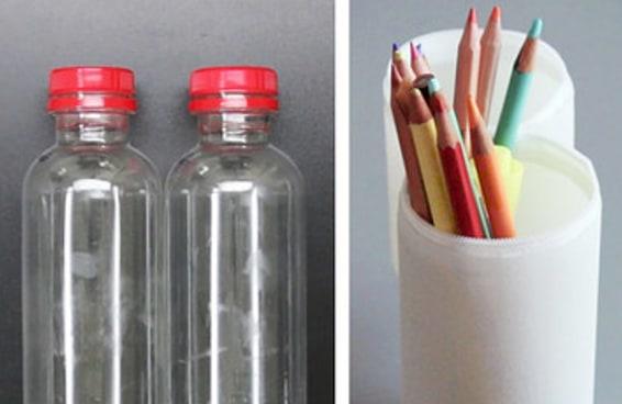 Transforme garrafas usadas em um prático estojo
