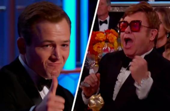 O Elton John ficou feliz demais com a vitória de Taron Egerton no Globo de Ouro