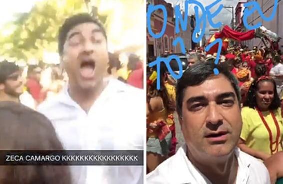 Apenas veja Zeca Camargo pirando com Nirvana em um bloco de Olinda