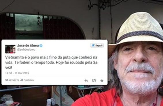 Zé de Abreu usa o Twitter para ofender o Vietnã e seu povo
