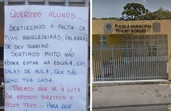Professores de uma escola municipal fizeram um cartaz para explicar a greve aos alunos